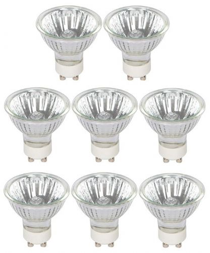 Pack of 8 x Halogen GU10 50W Bulbs, 340 Lumens, dimmable, 2700K Warm White (800104)